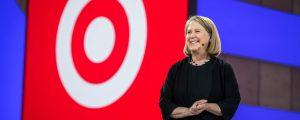 Google Cloud CEO Diane Greene at Next 2018 with Target logo during keynote