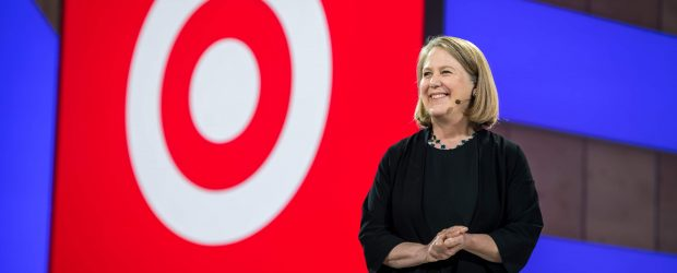 Google Cloud CEO Diane Greene at Next 2018 with Target logo during keynote