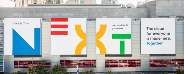 Google Next banners on Moscone Center