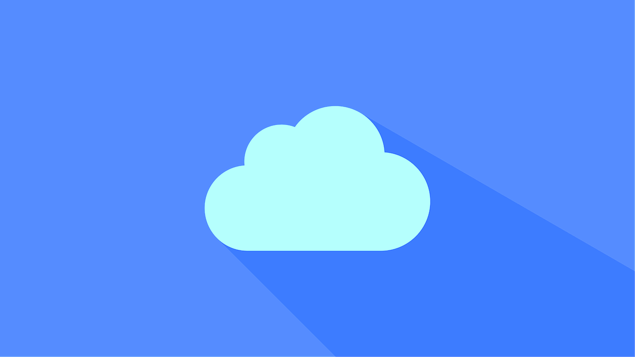 Flat material cloud against a blue background