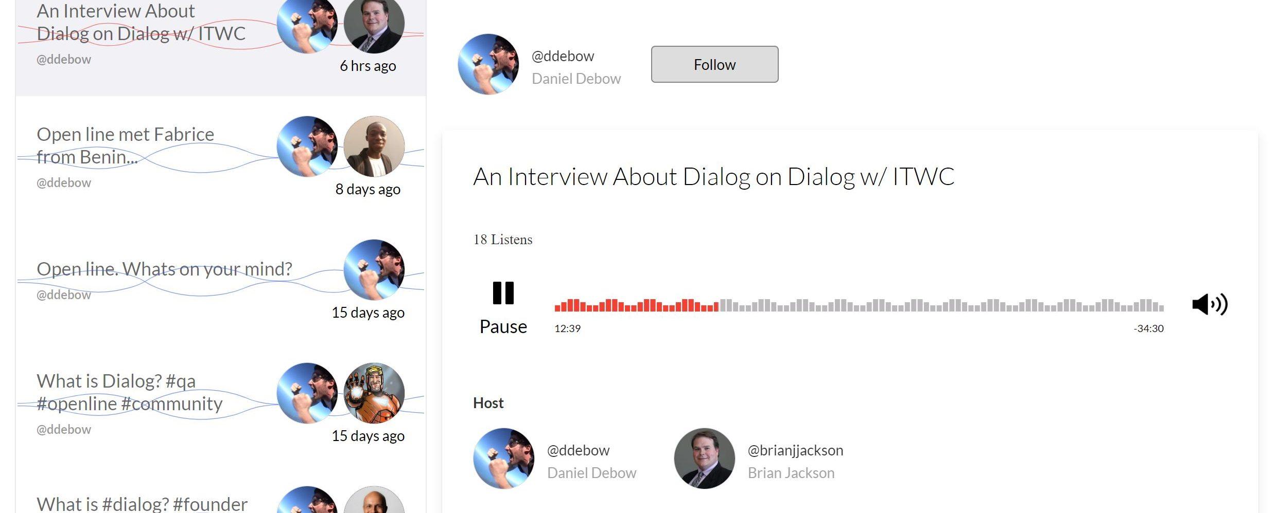 Dialog - Daniel Debow and Brian Jackson