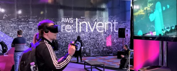 AWS Re:Invent chalk logo and VR