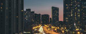highway - dark city at night