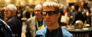 Aaron Grant, co-founder of North wears Vuzix smart glasses