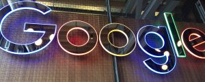 Google logo neon sign - Kitchener office