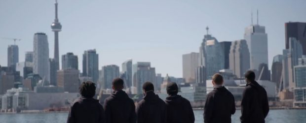 Raptors Uprising players - Toronto skyline
