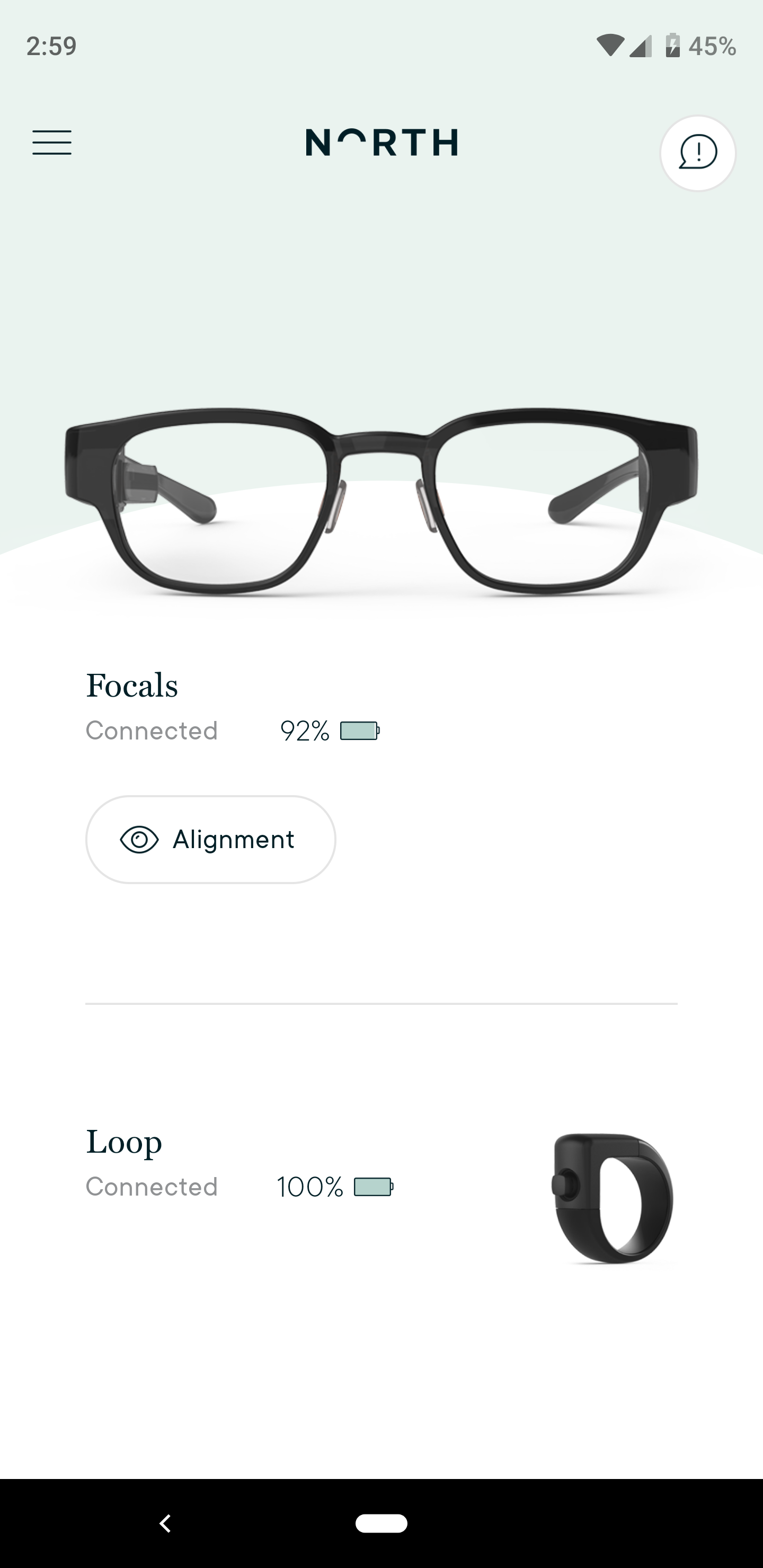 Focals Android app screen cap 1