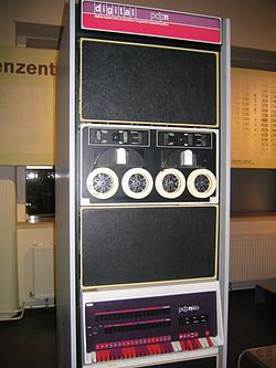 PDP-11/40. The processor is at the bottom. A TU56 dual DECtape drive is installed above it.