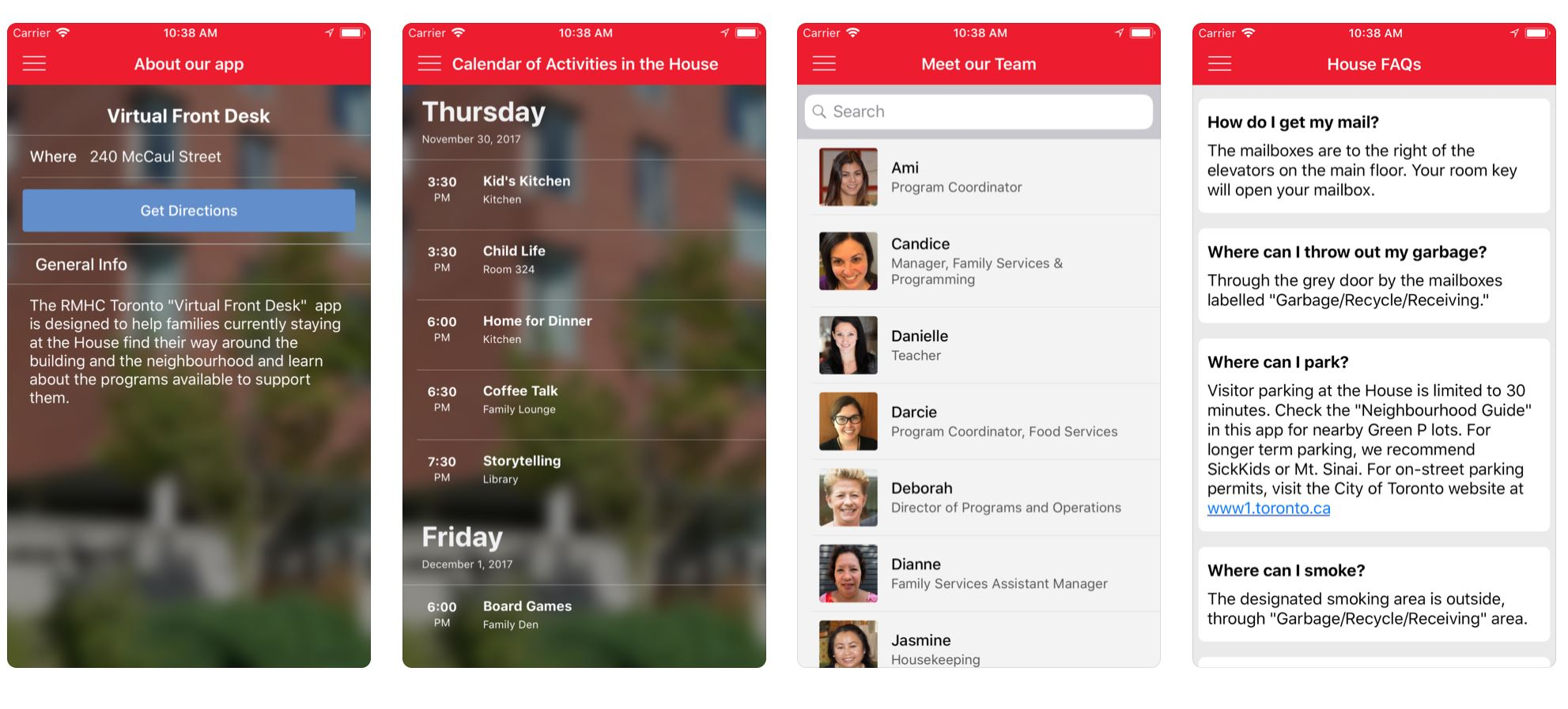 RMHC Toronto - Virtual Front Desk - iOS app
