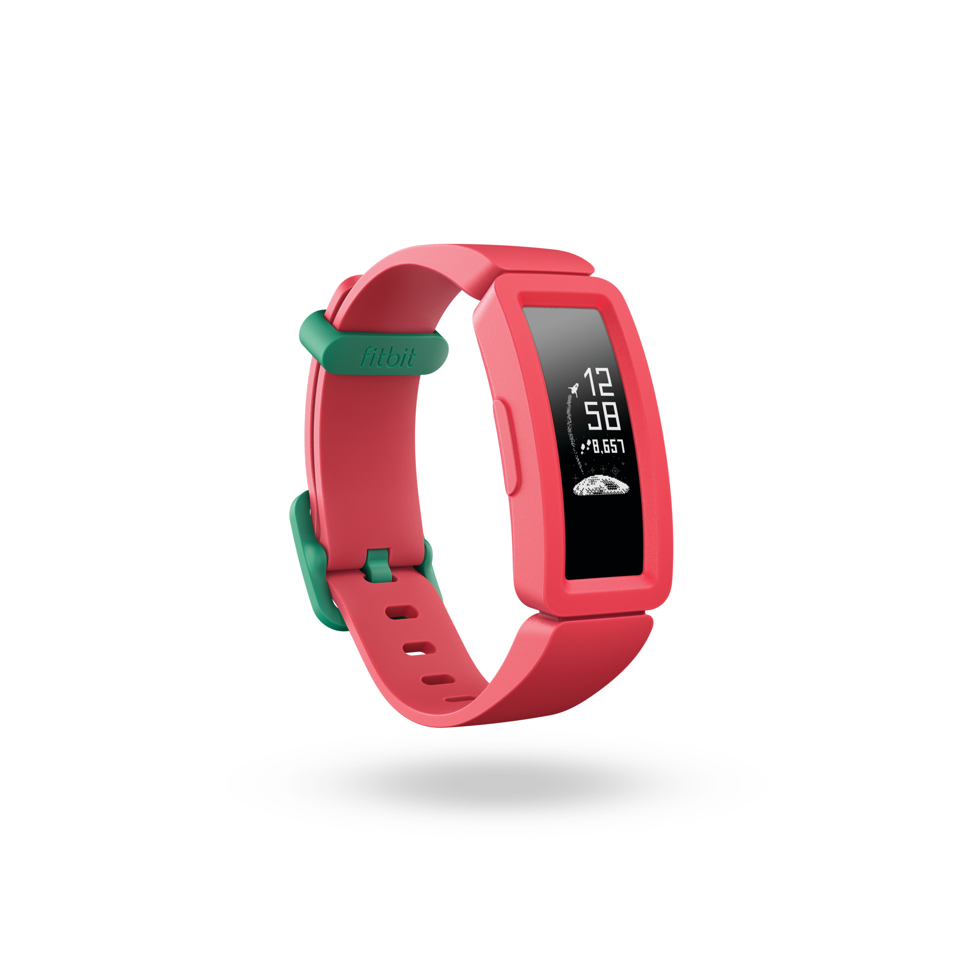 Product render of Fitbit Ace 2, 3QTR view, in Watermelon and Teal