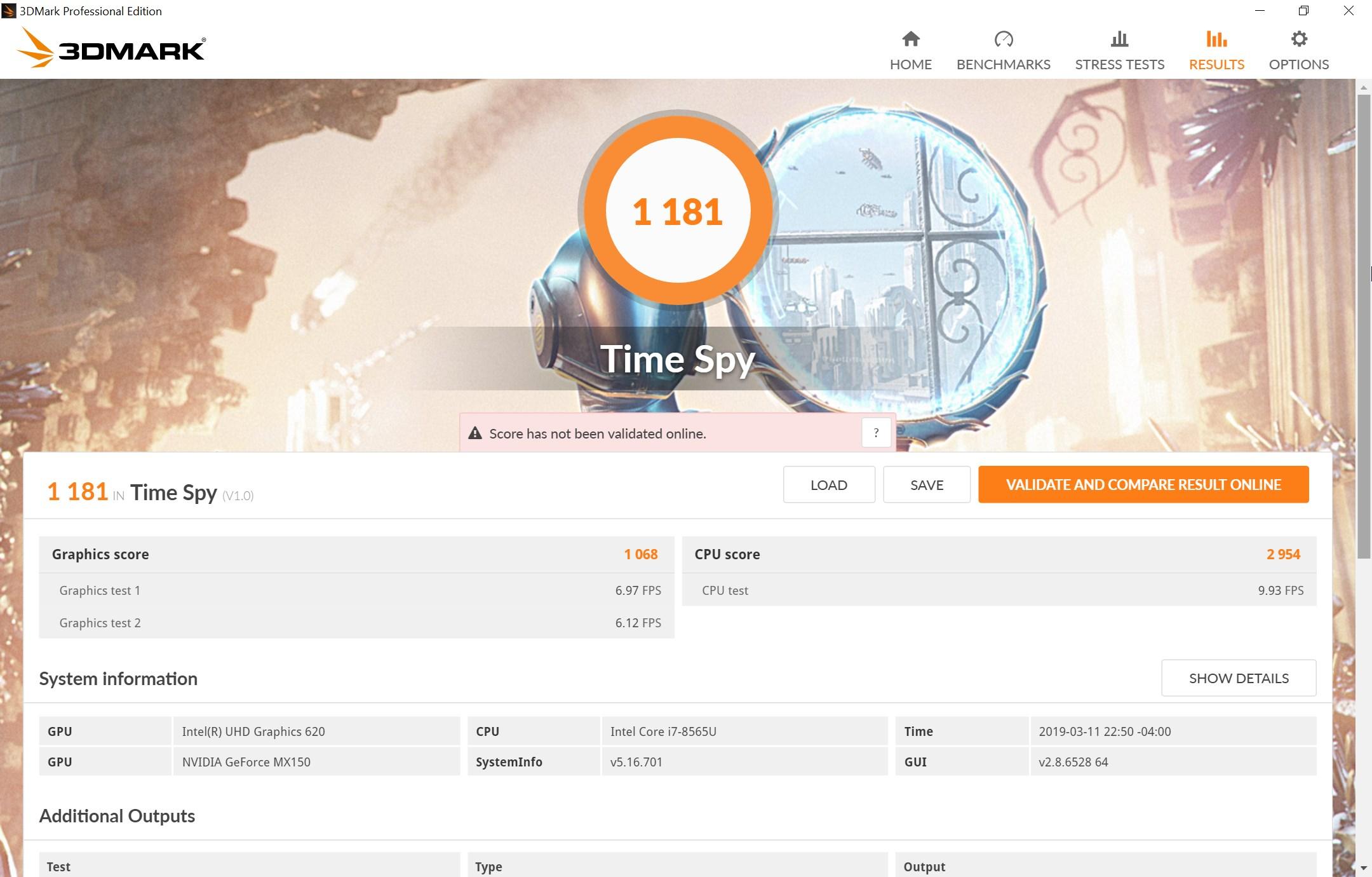Huawei Matebook 13 Timespy