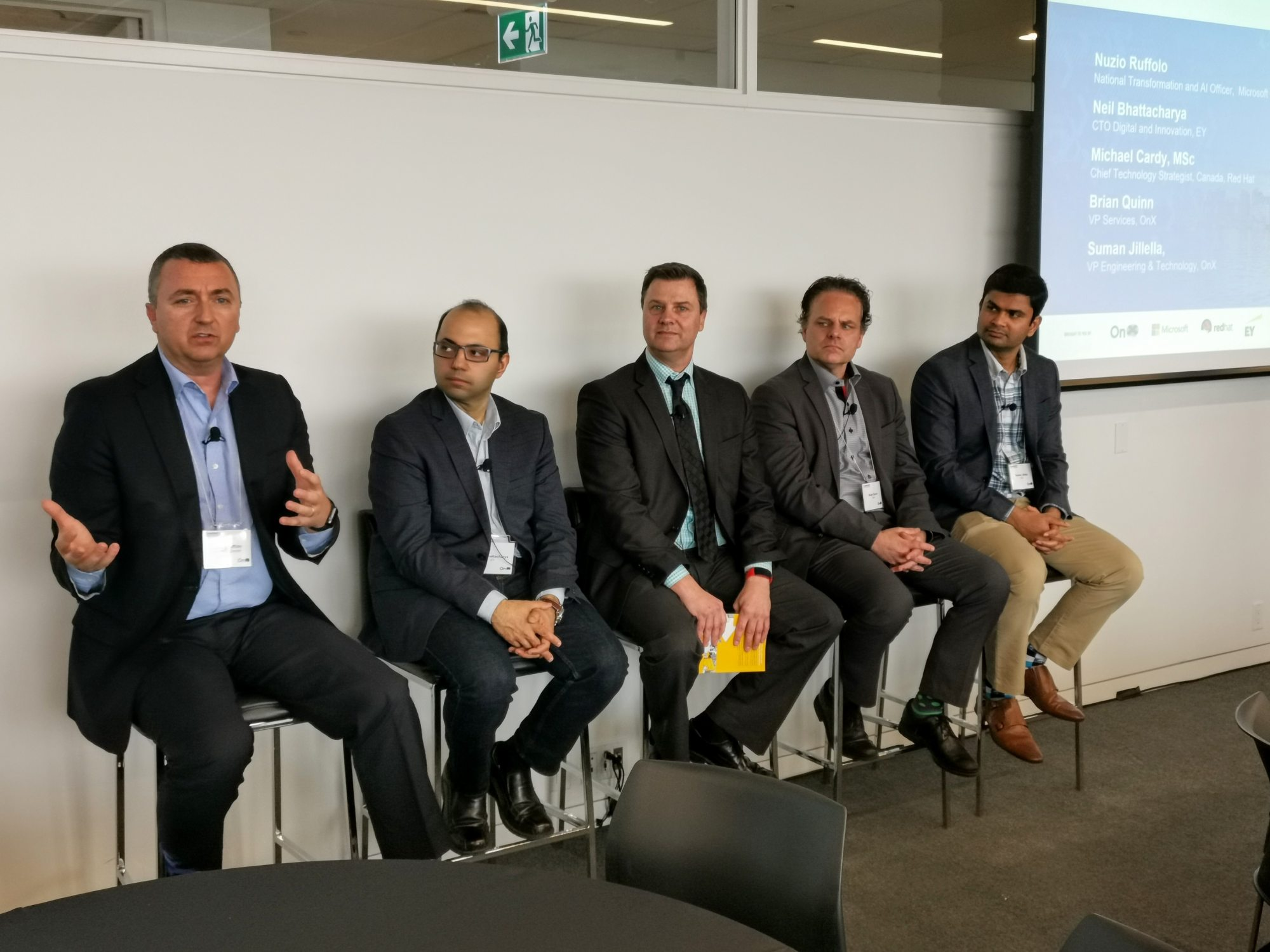 From left to right: Nuzio Ruffolo of Microsoft Canada, Neil Bhattacharya of EY, Michael Cardy of Red Hat, Brian Quinn of OnX, and Suman Jillella of OnX.