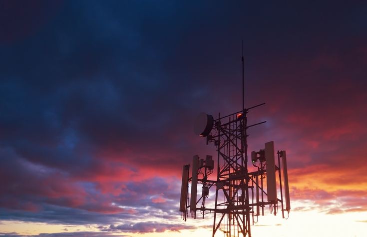 5G tower in sunset