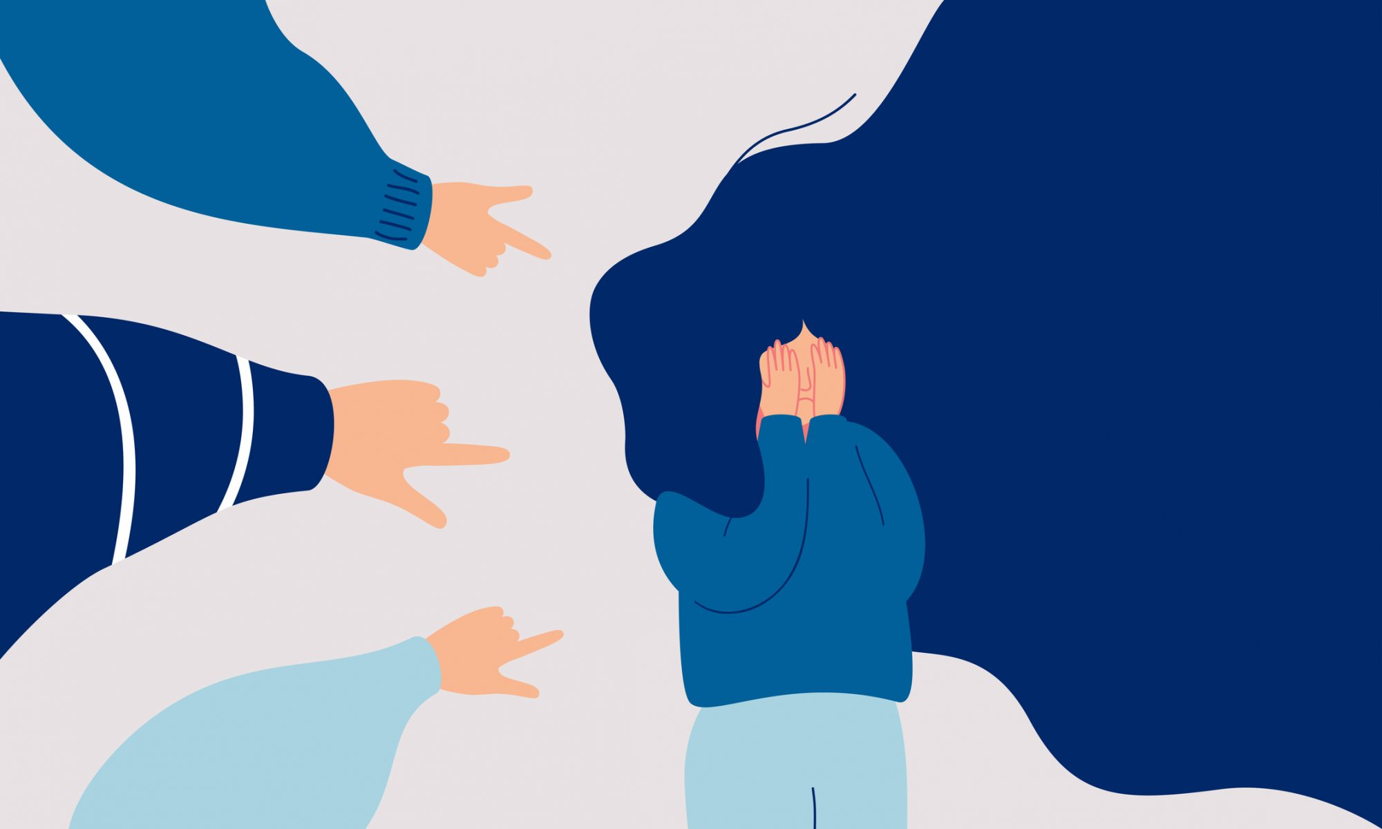People pointing fingers at a person illustration