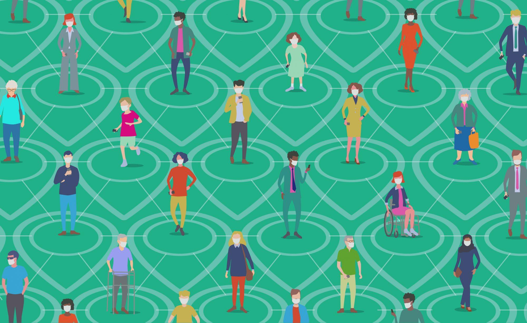 People social distancing illustrator