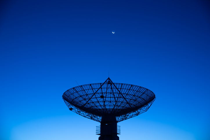 Satellite facing the sky