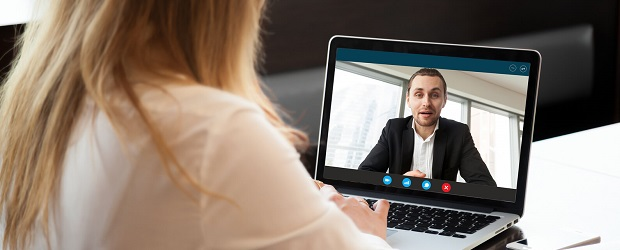 Two people having a virtual interview