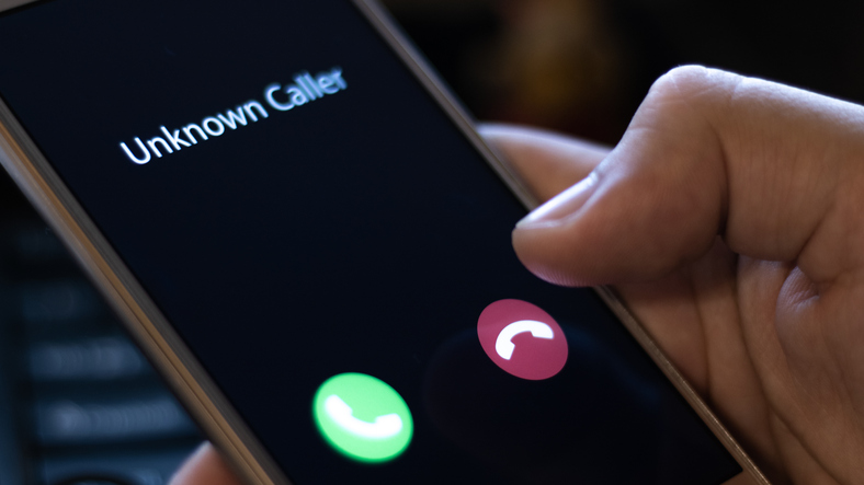 Incoming Call on mobile phone, Unknown caller