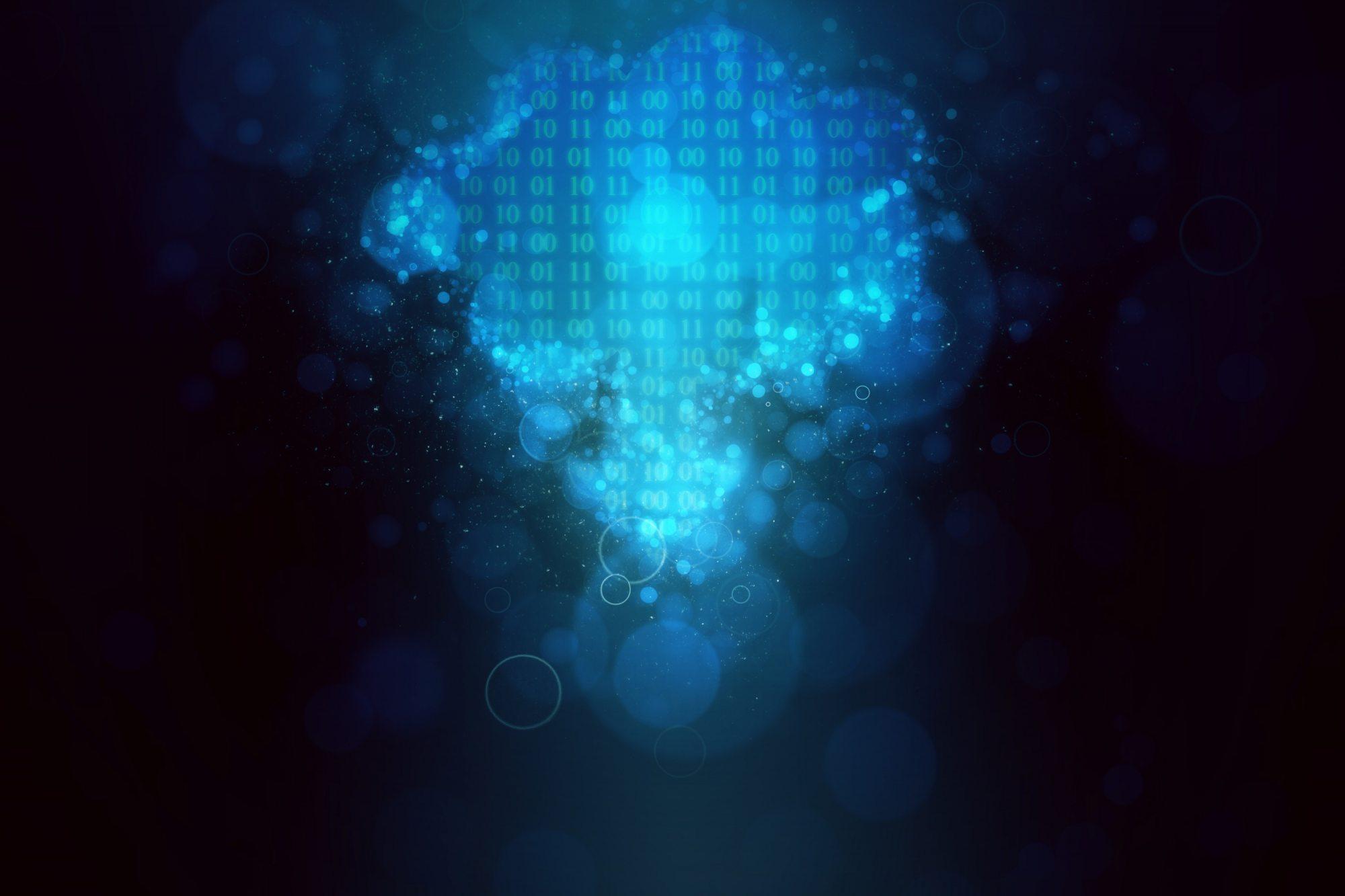 Binary code cloud
