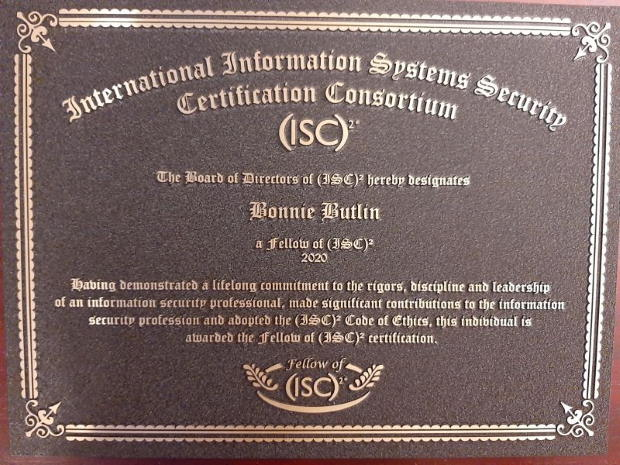 Bonnie Butlin certificate