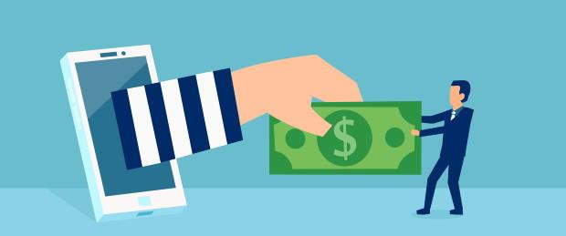 Tug work over money illustration
