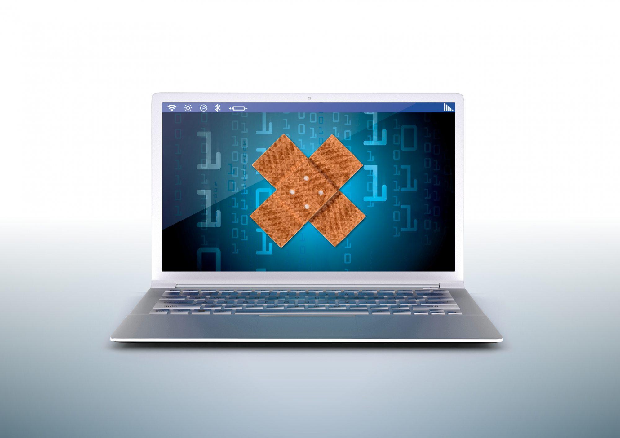 Laptop patching illustration