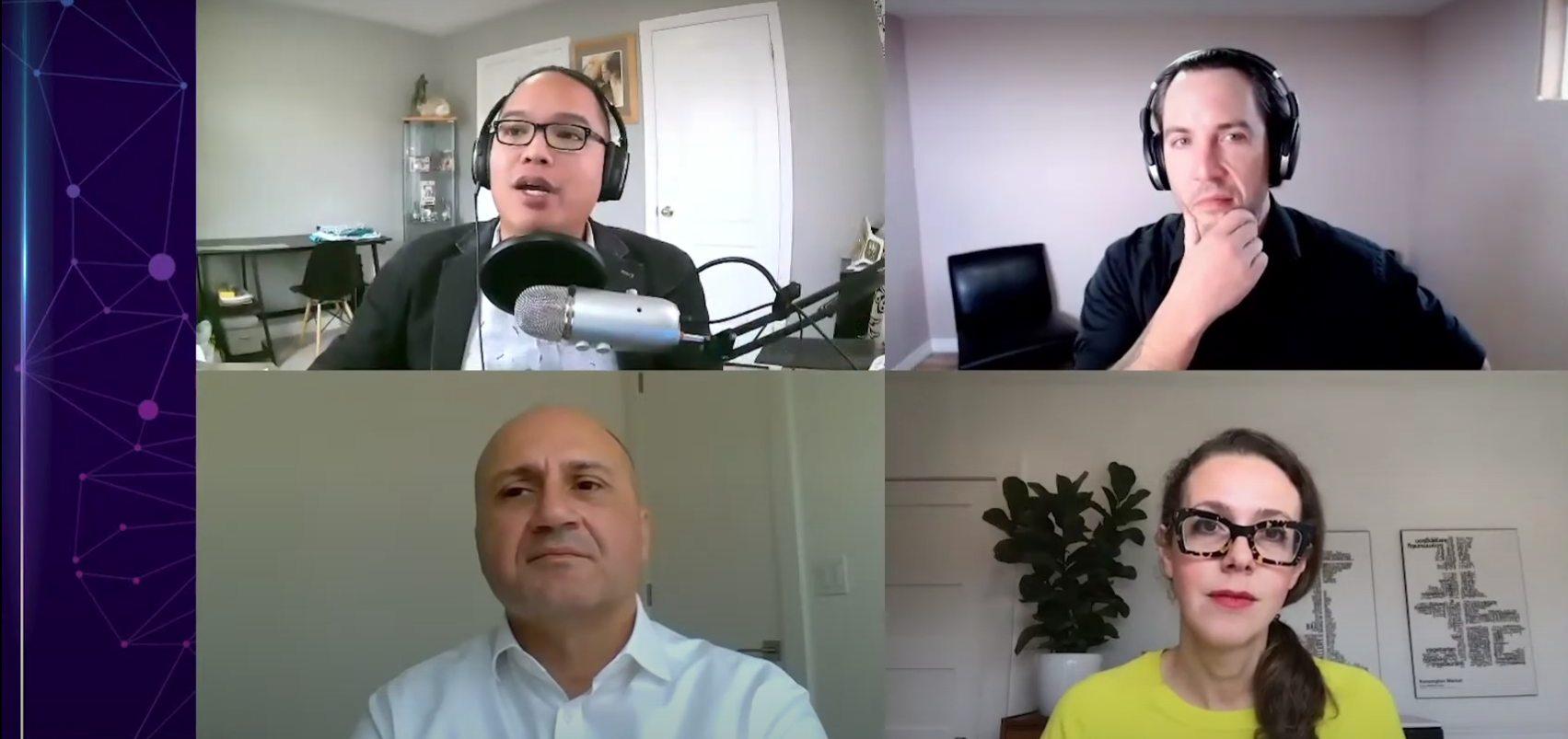 Sterling Lee, Adam Abernethy, Hanif Mawji, Monika Jaroszonek having an online meeting