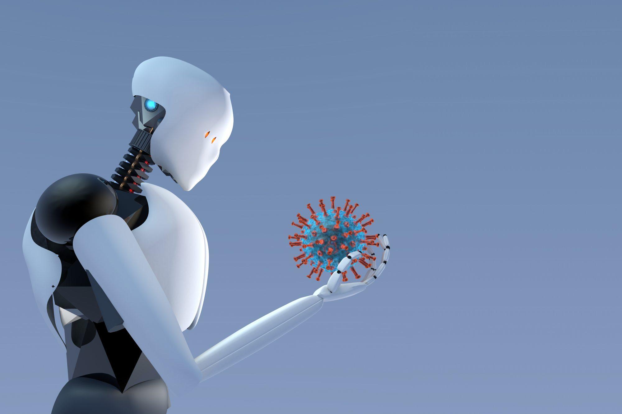 Robot holding virus