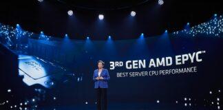 AMD's Lisa Su introducing Epyc 7003 series processor