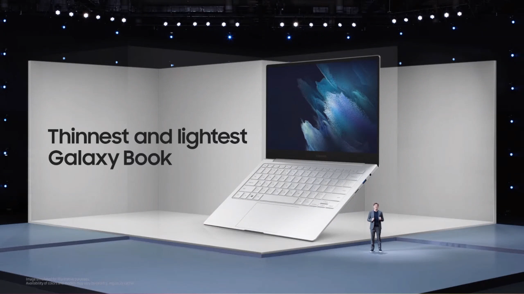 Samsung presenting the Galaxy Book Pro laptop.