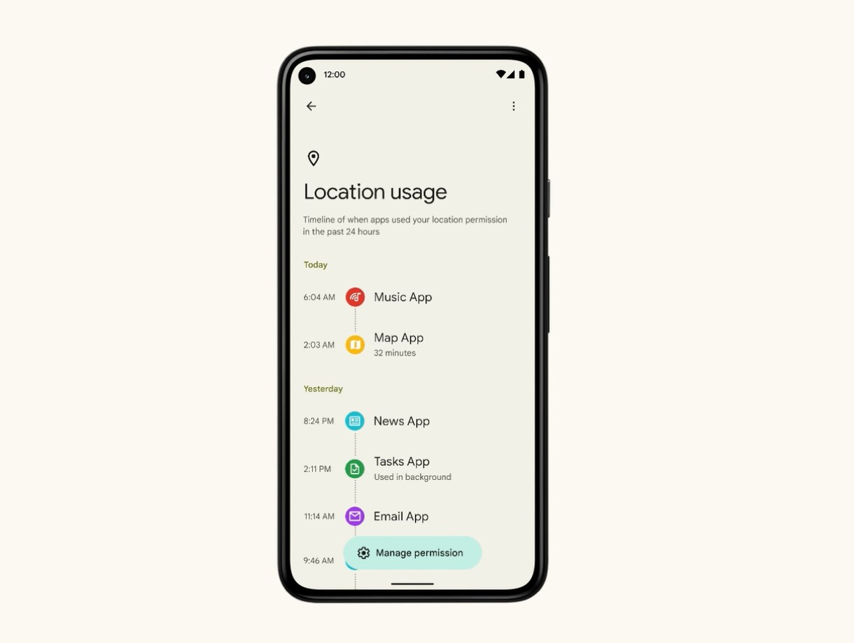 Google Android 12 Privacy Dashboard's sensor timeline function