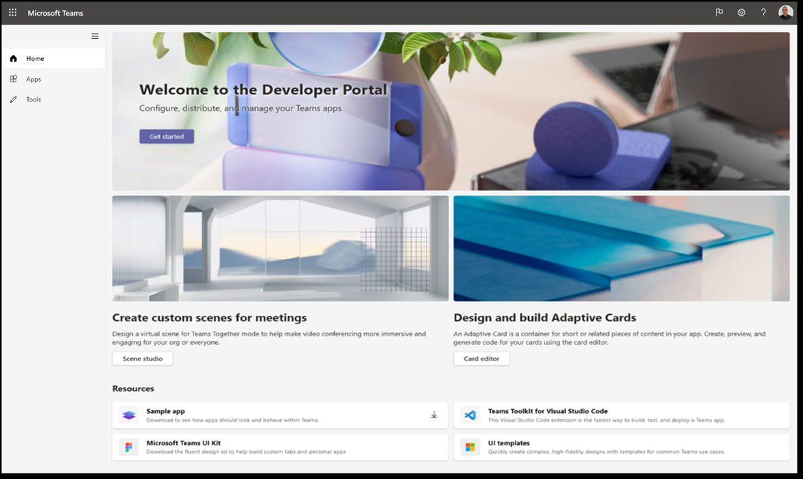 عکس پورتال توسعه دهندگان تیم های مایکروسافت