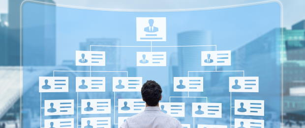 Man stands in front of an organization chart