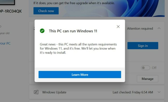 Passing the Windows 11 compatibility check yields a green checkmark