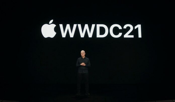 Apple CEO Tim Cook opens WWDC 2021 on a virtual stage.