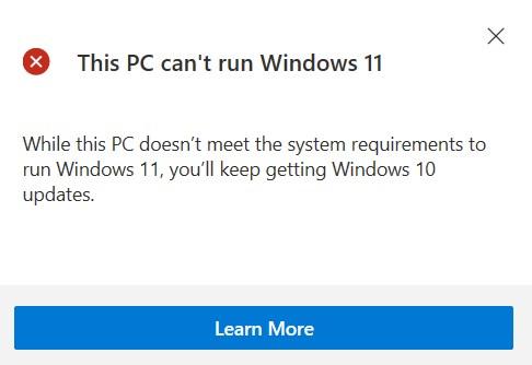 Windows 11 system compatiblity checker being unhelpful