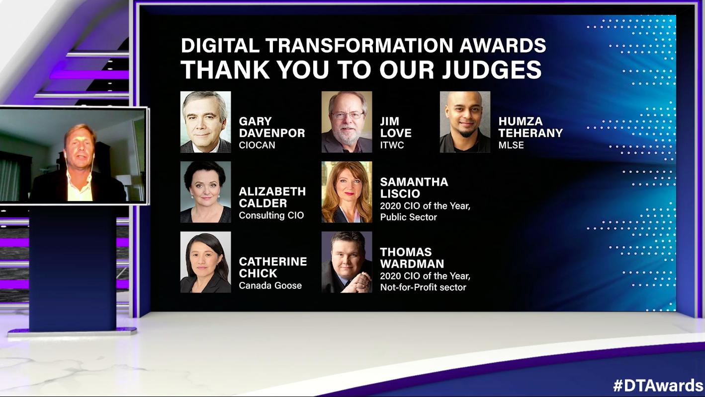 Screenshot of the judges for Digital Transformation Awards