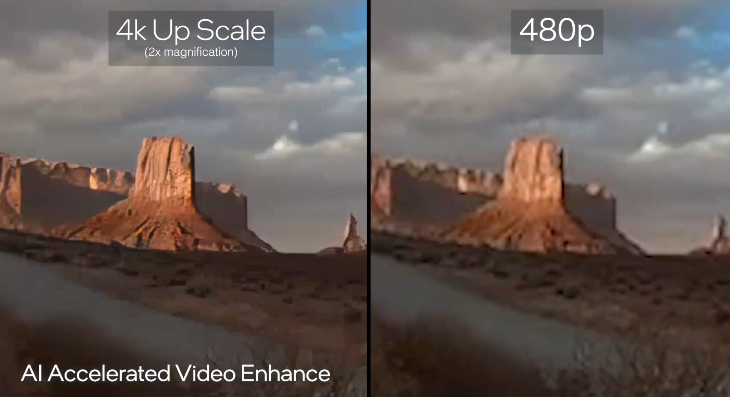 A demonstration of Intel Alchemist upscaling a 4K image from a 480p sample.
