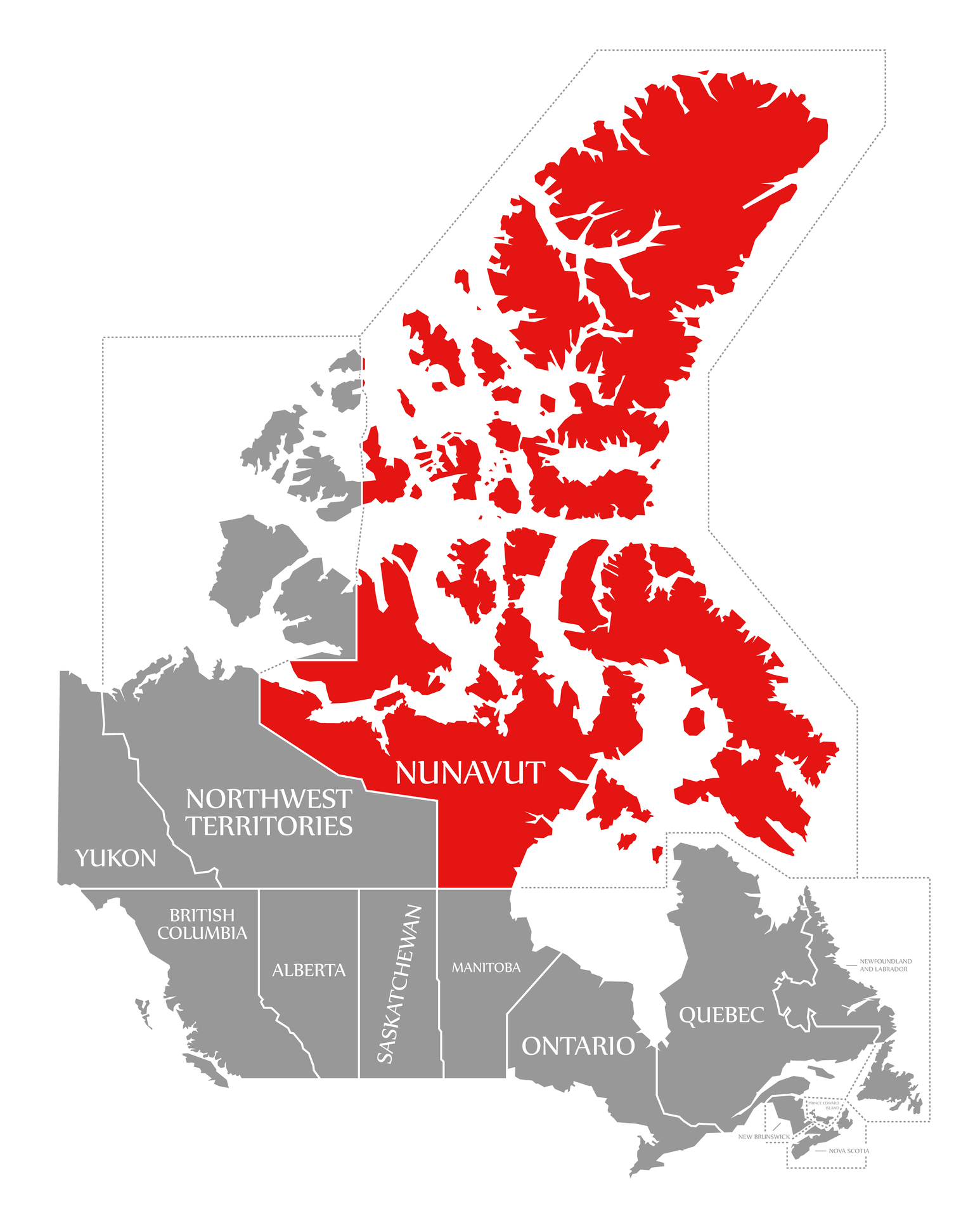 Map of the Canadian territory of Nunavut